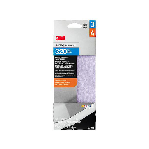 "3M 03078 Performance Sandpaper, 3-2/3"" x 9"", 320 grit"
