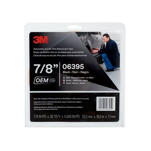 "3M 06395 7/8"" x 10yd. Black Automotive Acrylic Plus Attachment Tape"