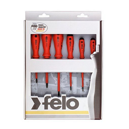 Felo 0715750176 Insulated Slotted & Phillips Screwdrivers Set, 6 Piece
