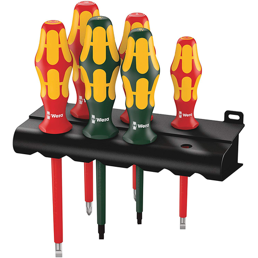 Wera 05347777001 VDE Insulated Slotted/Phillips/Square Screwdriver Set + Rack, 6 Piece