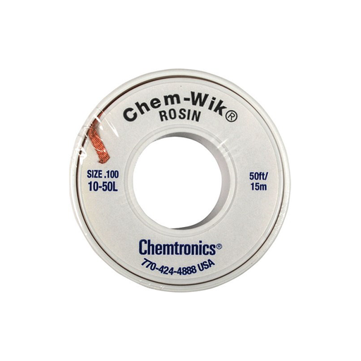 "Chemtronics 10-50L Desoldering Braid, Chem-Wik, Rosin 0.10"", 50ft."