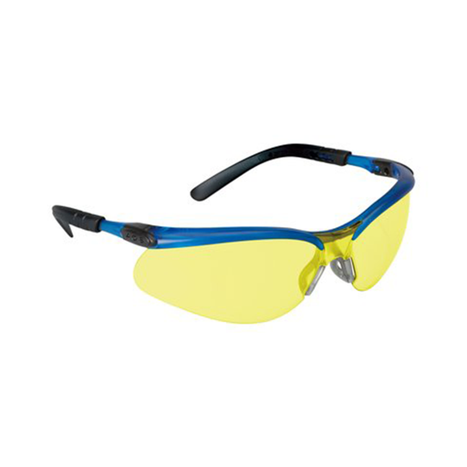 3M 11524-00000-20 BX Safety Glasses with Light Amber Anti-Fog Lens, Ocean Blue Frame