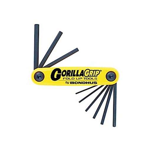 "Bondhus 12589 GorillaGrip Set of 9 5/64 - 1/4"" Hex Fold-up Tool"