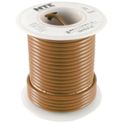 NTE Electronics WHS26-01-100 HOOK UP WIRE 300V SOLID 26 GAUGE BROWN 100'