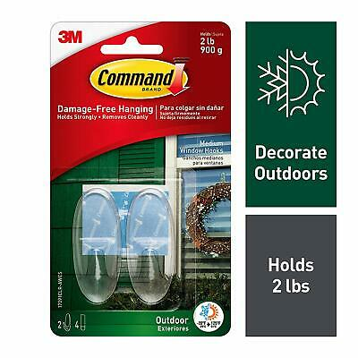 Command Outdoor Medium Clear Window Hooks with Clear Strips 17091CLR-AWES