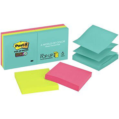 Post-it Super Sticky Pop-up Notes R330-6SSMIA, 3 in x 3 in (76 mm x 76 mm)