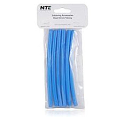 "NTE Electronics 47-25206-BL Heat Shrink 1/4"" Dia W/adhesive Blue 6"" Length 6pcs"