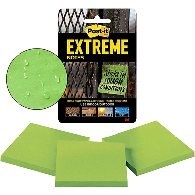 Post-it Extreme Notes, EXTRM33-3TRYGN, 3 in x 3 in (76 mm x 76 mm)