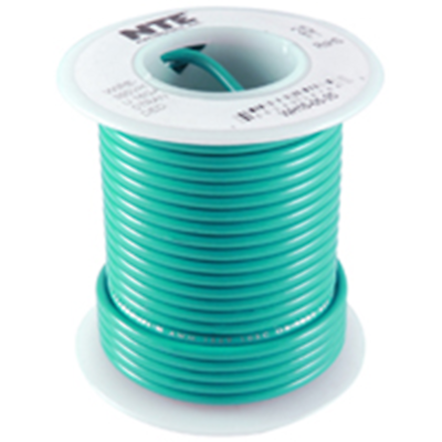 NTE Electronics WT18-05-25 WIRE TEFLON 18 GAUGE GREEN 25'