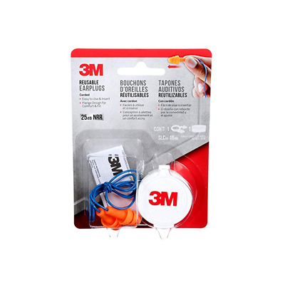 3M™ Corded Reusable Earplugs, 90586H1-DC, 1 pair with case/pack