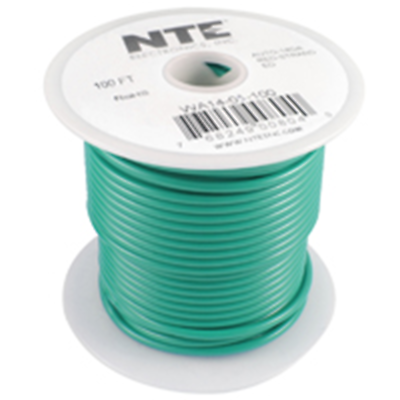 NTE Electronics WA08-05-100 HOOK UP WIRE AUTOMOTIVE 8 GAUGE GREEN STRANDED 100'