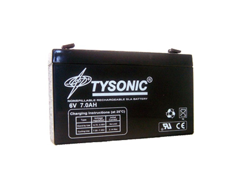 Tysonic TY-6-7 6V 7AH Sealed Lead Acid Battery