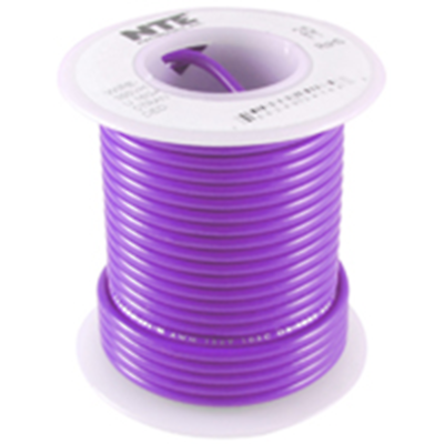 NTE Electronics WHS26-07-100 HOOK UP WIRE 300V SOLID 26 GAUGE VIOLET 100'
