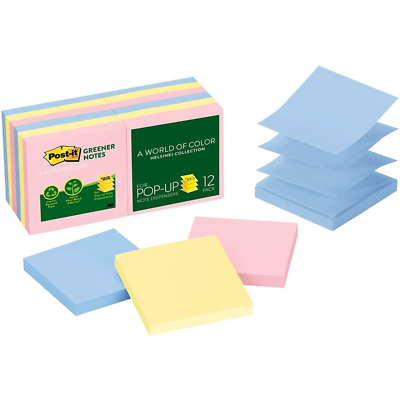 Post-it Greener Pop-up Notes R330RP-12AP, 3 in x 3 in