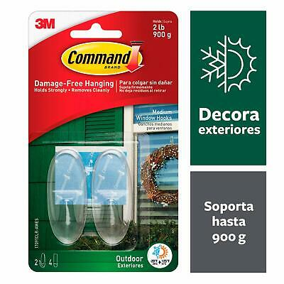 Command Outdoor Medium Clear Window Hooks w/ Clear Strips Pack, 17091CLAWVPESB