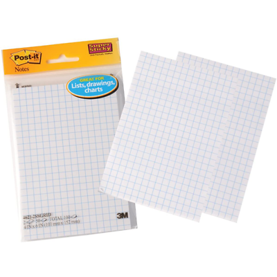 Post-it Super Sticky Notes on Grid Paper 4621-2SSGRID