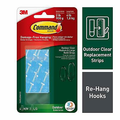Command Outdoor Medium and Large Clear Strip Refills 17615CLRAW-ES