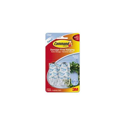 Command™ Medium Clear Hooks with Clear Strips 17091CLR-ES 2 pack
