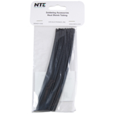 NTE Electronics 47-20306-BK Heat Shrink 1/8 In Dia Thin Wall Black 6 In Length