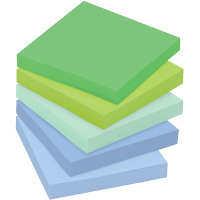 Post-it Super Sticky Recycled Notes 654-5SST, 3 in x 3 in (76 mm x 76 mm)
