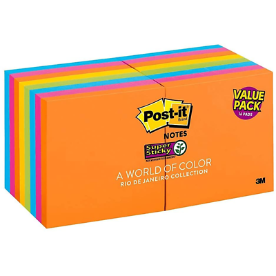 Post-it Super Sticky Notes 654-12SSAU+4, 3 in x 3 in (76 mm x 76 mm)