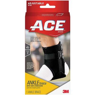 ACE Ankle Brace with Side Stabilizers 207266, One Size Adjustable
