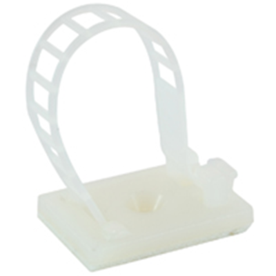 "NTE Electronics 04-LACC39 LADDER CABLE CLAMP 1.024"" NATURAL W/ ADHESIVE 10/BAG"