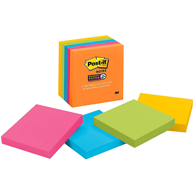 Post-it Super Sticky Notes 654-5SSUC, 3 in x 3 in (76 mm x 76 mm)