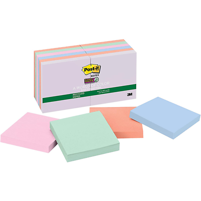 Post-it Super Sticky Recycled Notes 654-12SSNRP, 3 in x 3 in (76 mm x 76 mm)
