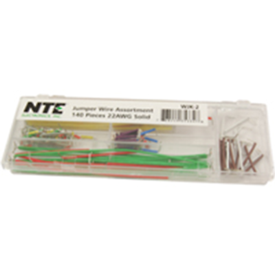 NTE Electronics WJK-2 JUMPER WIRE ASST 140 PCS 22AWG SOLID STRIPPED, 14 LENGTHS