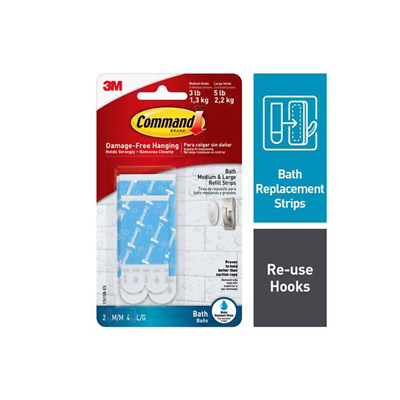 Command Water Resistant Replacement Strips 17615 White