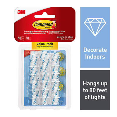 Command™ Clear Decorating Clips with Clear Strips Value Pack, 17026CLR-40ES