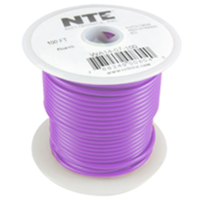 NTE Electronics  WA16-07-100 HOOK UP WIRE AUTO 16 GAUGE VIOLET STRANDED 100'