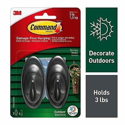 Command Outdoor Medium Slate Terrace Hooks with Foam Strips 17086S-AWES