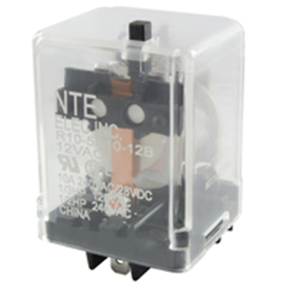 NTE Electronics R10-14D10-12B RELAY-12VDC 10AMP 3PDT GEN.PURPOSE TEST BUTTON