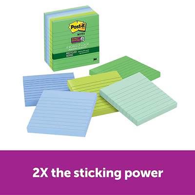 Post-it Super Sticky Recycled Notes 675-6SST, 4 in x 4 in Bora Bora Collection