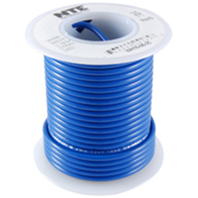 NTE Electronics WHS26-06-100 HOOK UP WIRE 300V SOLID 26 GAUGE BLUE 100'