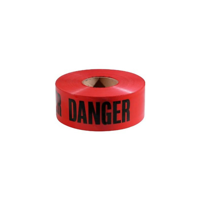 Scotch® Barricade Tape 356, DANGER, 3 in x 300 ft, Red