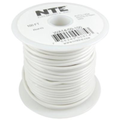 NTE Electronics  WA06-09-100 HOOK UP WIRE AUTOMOTIVE 6 GAUGE WHITE STRANDED 100'