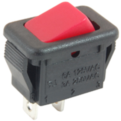 NTE Electronics 54-874 ROCKER SWITCH SPST ON-NONE-OFF 6A 125VAC RED ACTUATOR