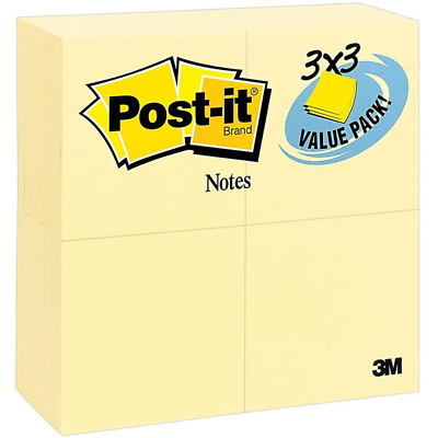 Post-it Notes 654-24VAD, 3 in x 3 in (76 mm x 76 mm) Canary Yellow