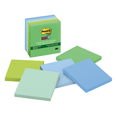 Post-it Super Sticky Recycled Notes 675-4SST, 4 in x 4 in (101 mm x 101 mm)