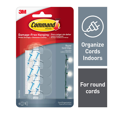 Command™ Clear Round Cord Clips, 17017CLRES