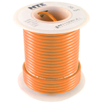 NTE Electronics WHS18-03-500 HOOW UP WIRE 300V 18 GAUGE ORANGE SOLID 500'