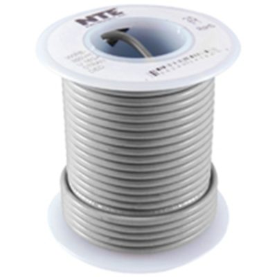 NTE Electronics WHS24-08-25 HOOK UP WIRE 300V SOLID 24 GAUGE GRAY 25'
