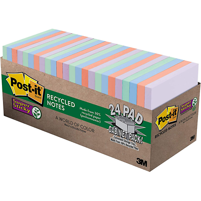 Post-it Super Sticky Recycled Notes 654-24NH-CP, 3 in x 3 in (76 mm x 76 mm)