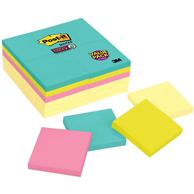 Post-it Super Sticky Notes 654-24SSCYM, 3 in x 3 in (76 mm x 76 mm)