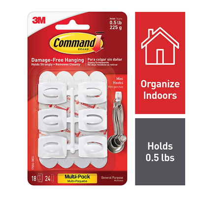 Command™ Mini White Hooks with White Strips Value Pack 17006-18ES
