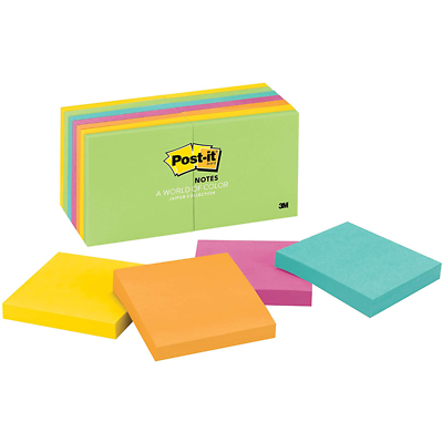 Post-it Notes, 654-14AU, 3 in x 3 in (76 mm x 76 mm), Jaipur colors