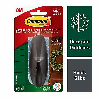 Command Outdoor Large Metallic Bronze Designer Hook w/ Foam Strips 17083BZ-AWES